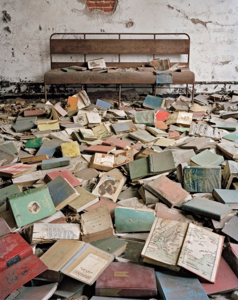 Classroom books, North Brother Island, New York