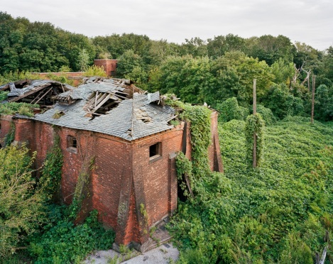 Coalhouse from Morgue Roof, North Brother Island, New York